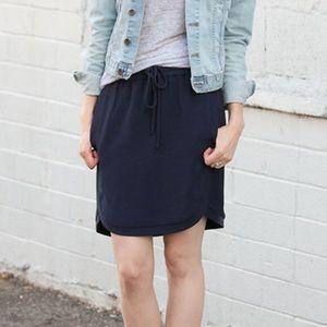 J. Crew Drapey Double Twill Navy Skirt